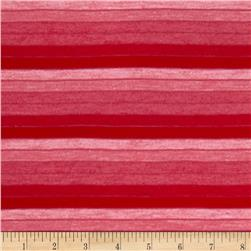Stretch Yarn Dyed Jersey Knit Stripes Tonal Red