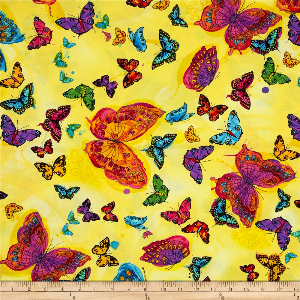 Timeless Treasures Monterey Allover Butterflies Yellow