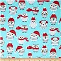Kaufman Polar Pals Holiday Owls Aqua