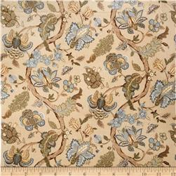 Jaclyn Smith Virginia Floral Blend Lagoon Fabric