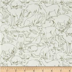Sherwood Outline Animals Olive/White