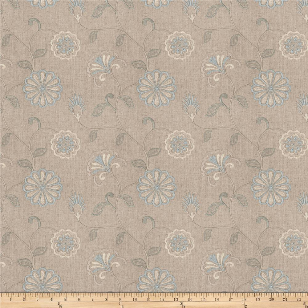 Fabricut Dory Floral Embroidered Bluebell