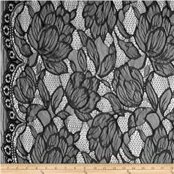 Printemps Lace Black Fabric