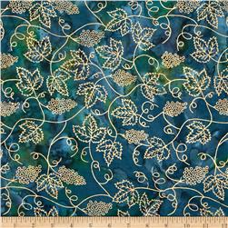 Indian Batik Vineyard Grape Vine Metallic Blue/Green