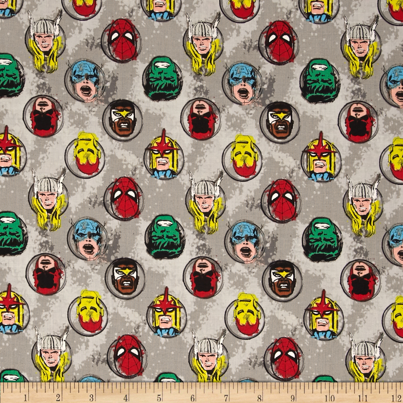 Marvel Comics Characters Stone Fabric by Eugene in USA