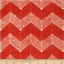 Chevron Net Lace Tomato Orange