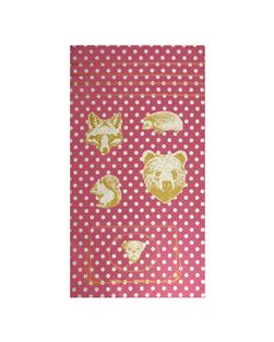 Kokka Making Cloth Oxford Metallic Animals Panel Pink