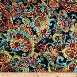 Timeless Treasures Bellagio Metallic Paisley Black