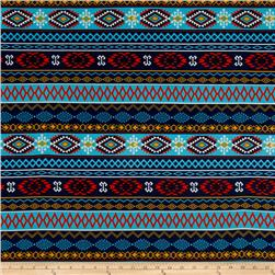 Jersey Knit Aztec Diamond Blue Multi
