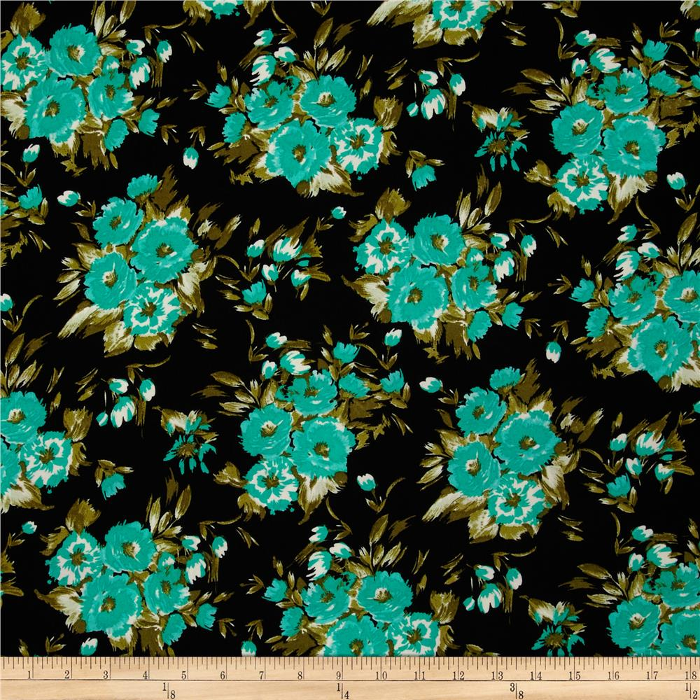 Crepe Floral Black/Green/Mint