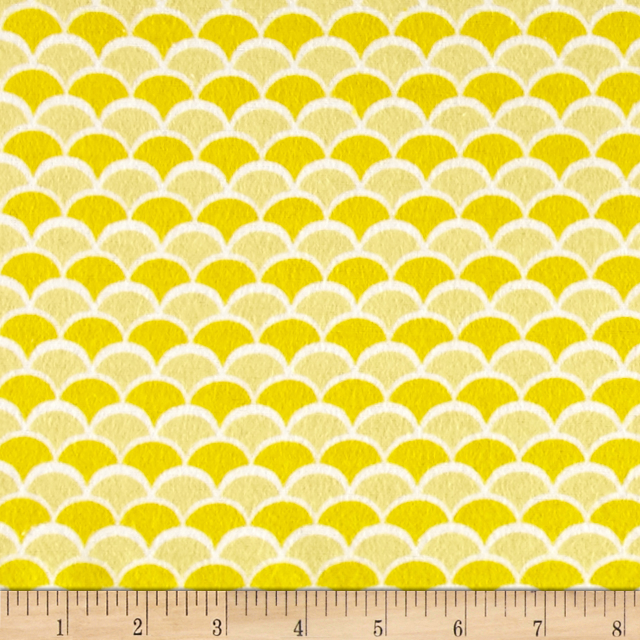 Flannel New Waves Yellow Fabric by David in USA