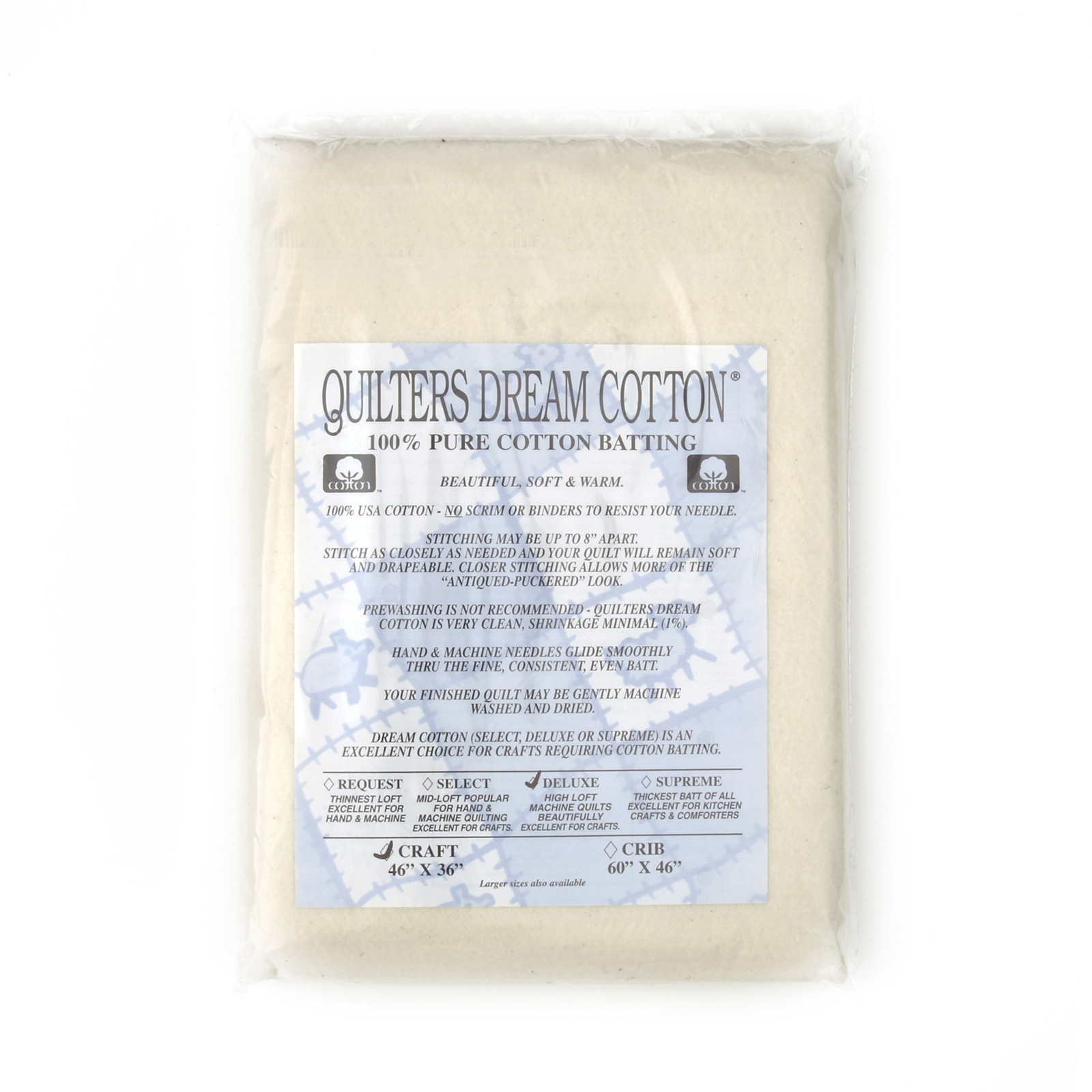 Quilter's Dream Natural Cotton Deluxe Batting (46'' x 36'') Craft by Quilter's Dream in USA