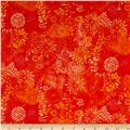"108"" Wide Quilt Back Packed Floral Orange"