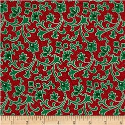 Cozies Flannel Christmas Scroll Red