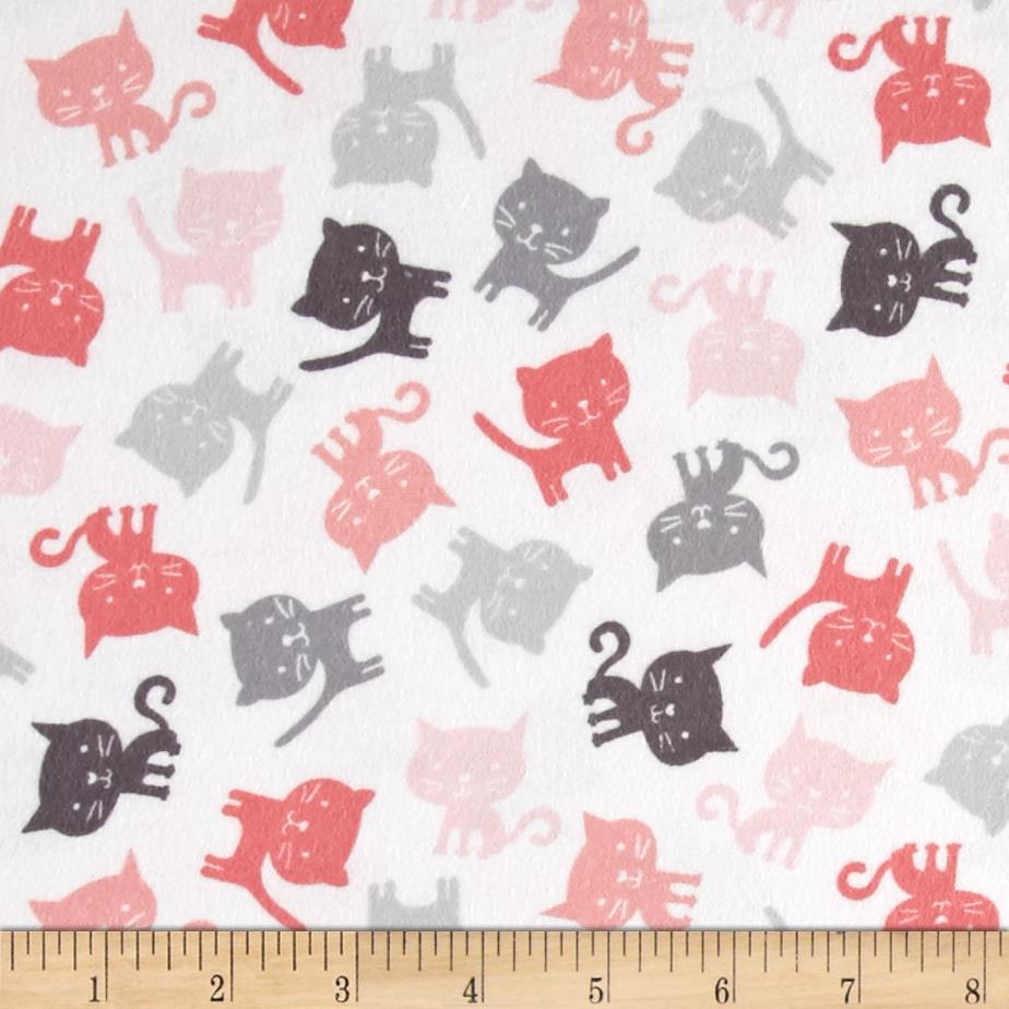 Novelty Niche Flannel Cats White Pink Grey