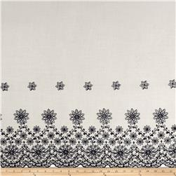 Embroidered Rayon Challis Double Border Floral Ivory/Navy
