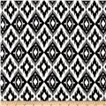 Rayon Challis Ikat Diamond Black/White