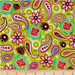 Kanvas Luv Bugs Luv Bug Paisley Lime Fabric