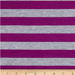 Yarn Dye Jersey Knit Orchid/Heather Gray Stripes