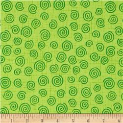 110'' Wide Quilt Backing Swirl Lime