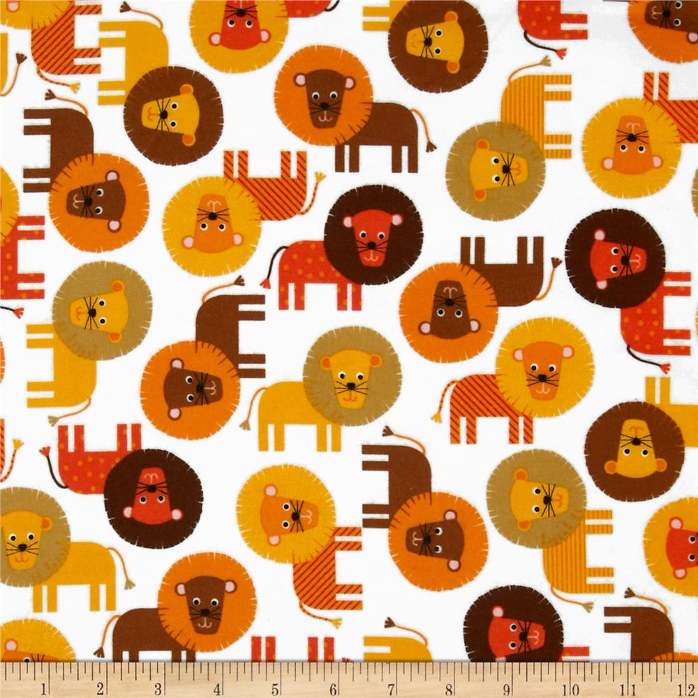 Urban Zoologie Flannel Lions Nature Fabric
