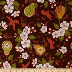 Riley Blake Decadence Pears & Blossoms Brown