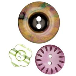 Fashion Buttons 5/8'', 3/4'', 1 1/8'' Coordinates Multi/Purple/Green