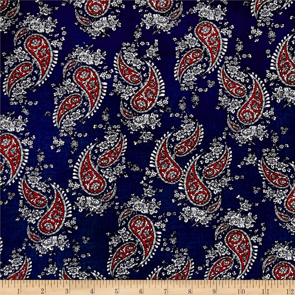 Corduroy Red Paisley on Navy