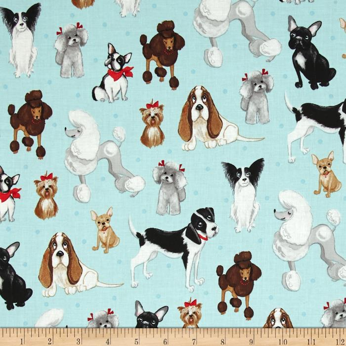 Kaufman Whiskers & Tails Dog Collage Sky