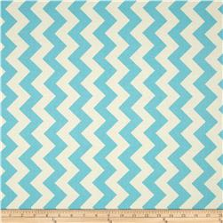 Riley Blake Le Creme Basics Chevron Aqua/Cream Fabric