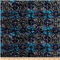 Shaded Squares Rayon Crepe Print Black/Blue