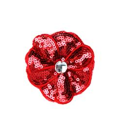 Jeweled Posey Sequin Brooch 2-1/2'' Red