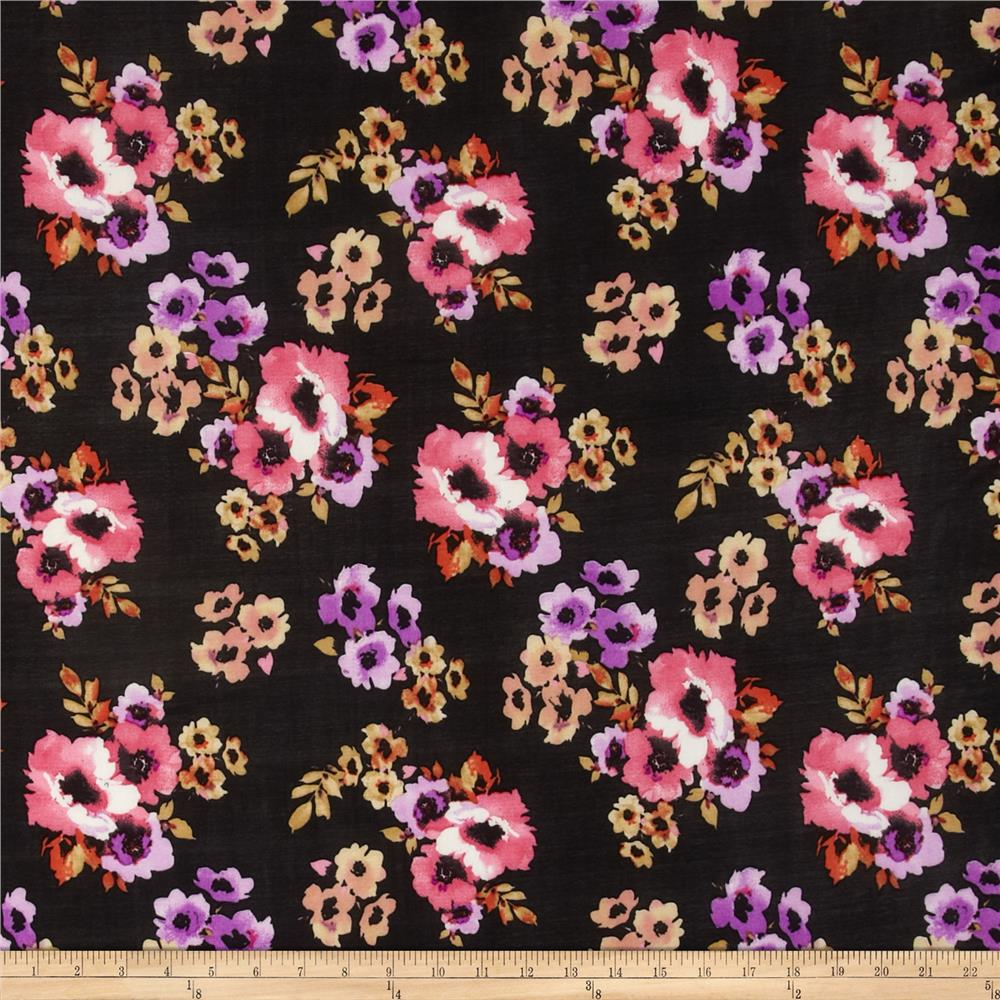 Stretch ITY Jersey Knit Floral Black/Pink/Lilac