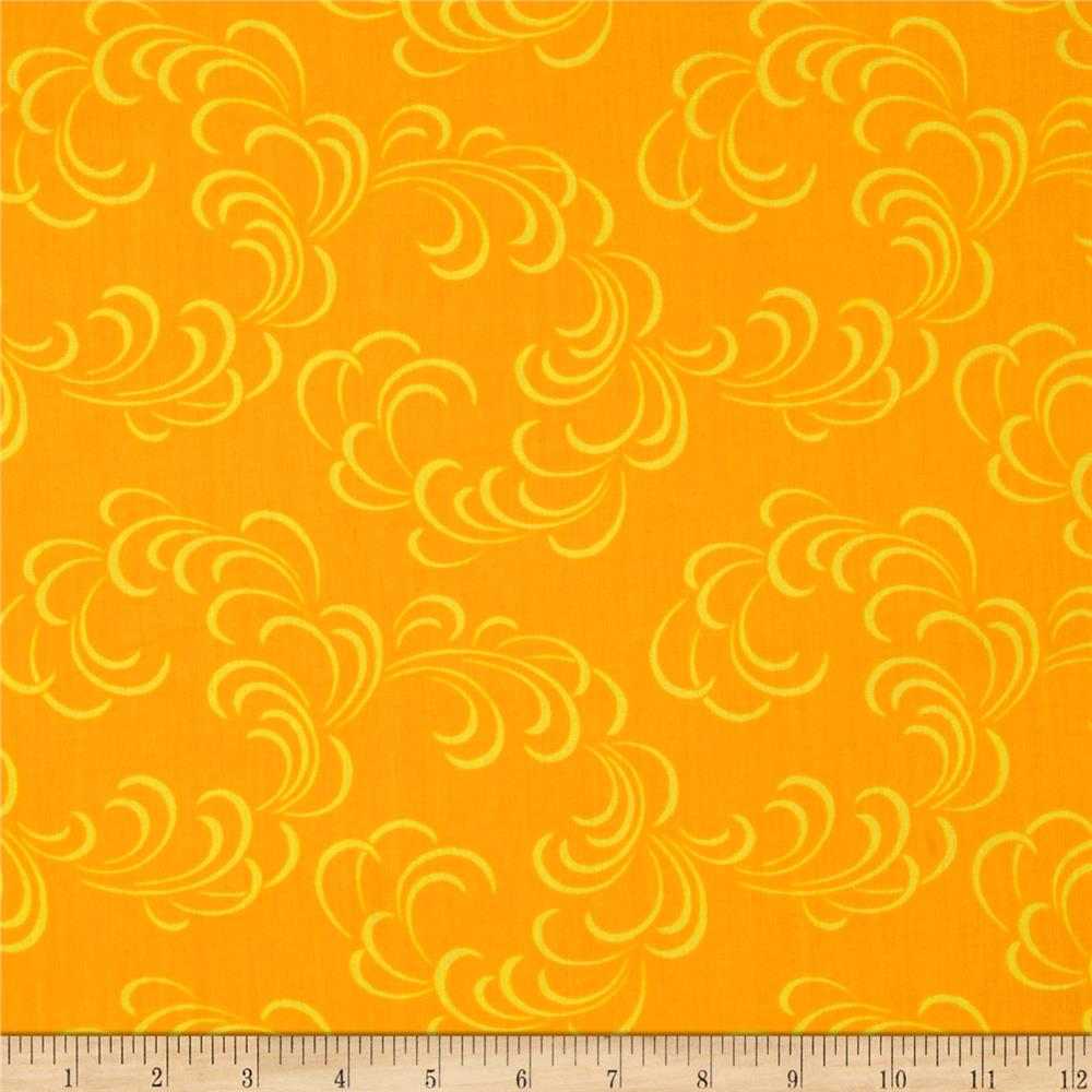 """108"""" Wide Quilt Back Feathers Gold"""