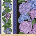 Timeless Treasures Hydrangea Border Stripe Black