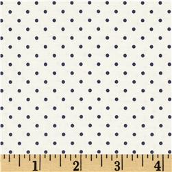 Riley Blake La Creme Basics Swiss Dots Cream/Navy