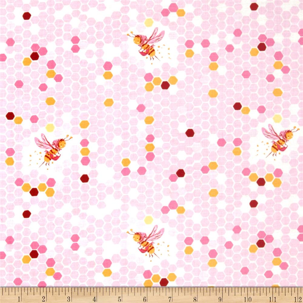 Heather Ross Briar Rose Hex Bee Pink/White