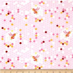Heather Ross Briar Rose Hex Bee Pink/White Fabric