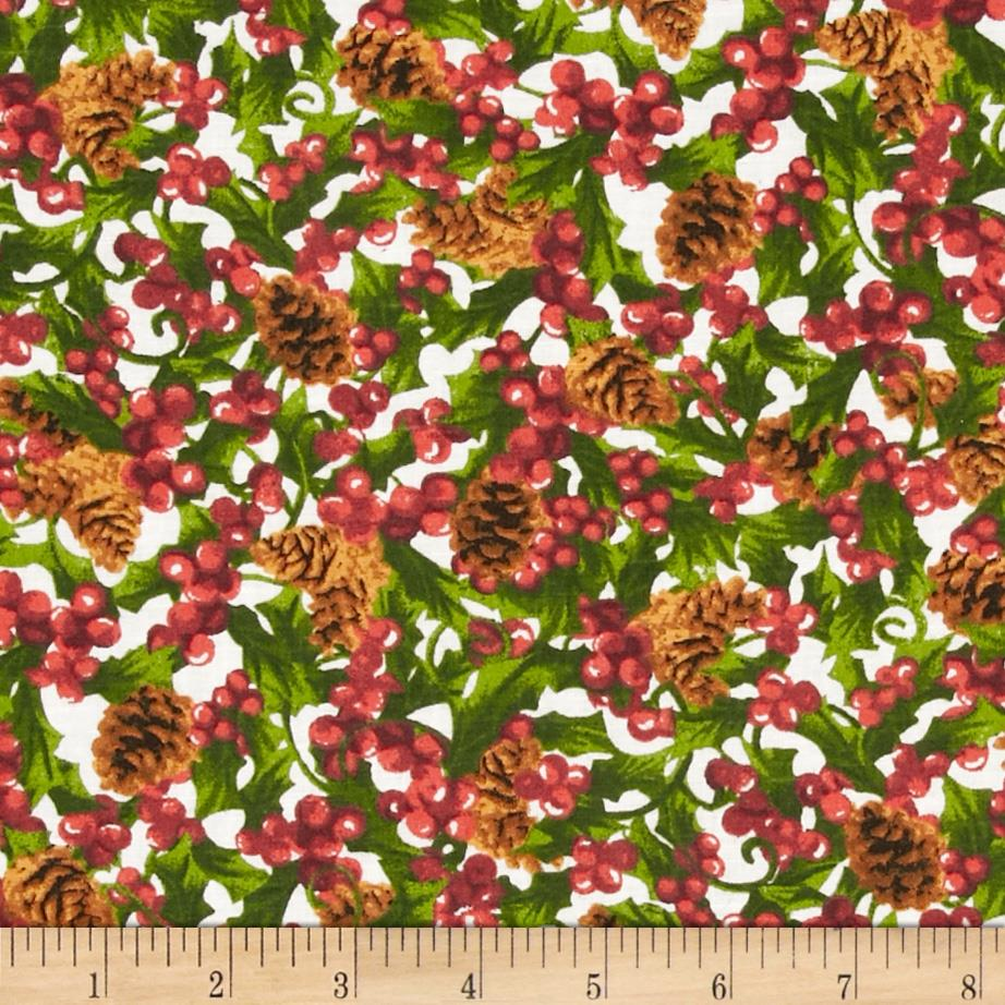 Holiday Novelties Berries and Pine Cones White