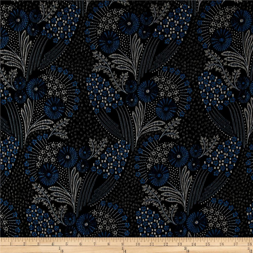 French Designer Jacquard Floral Blue/Black