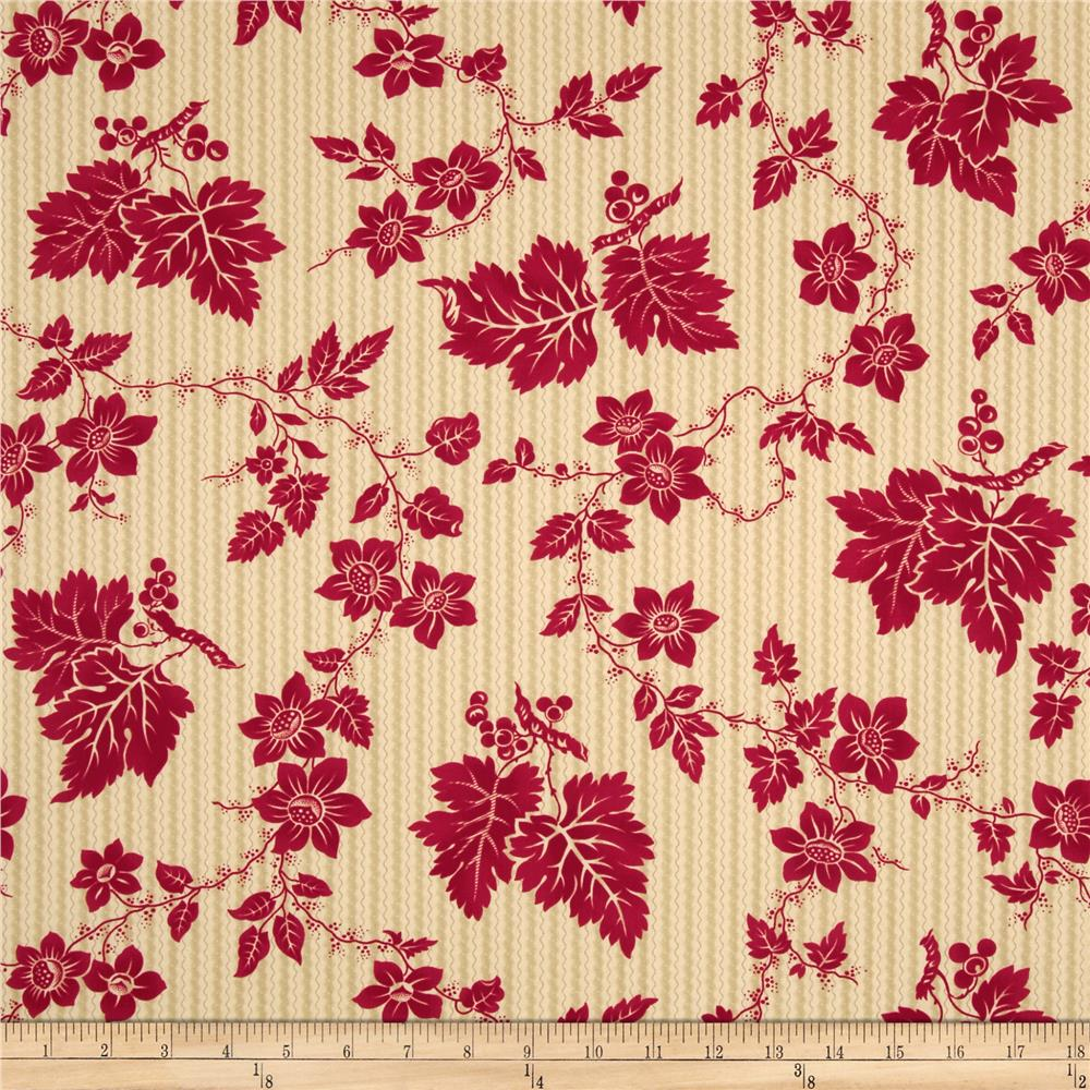 Moda Crazy for Red Etched Floral Ivory-Red