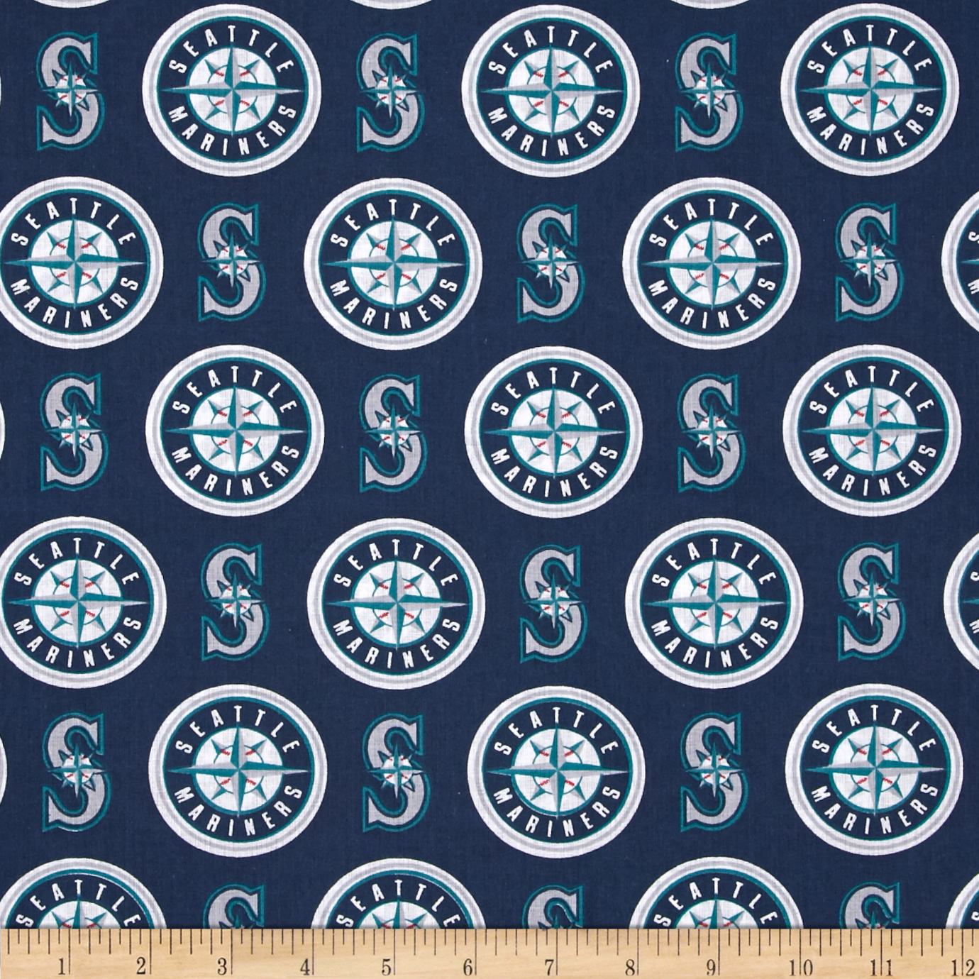 MLB Cotton Broadcloth Seattle Mariners Blue/White Fabric by Fabric Traditions in USA