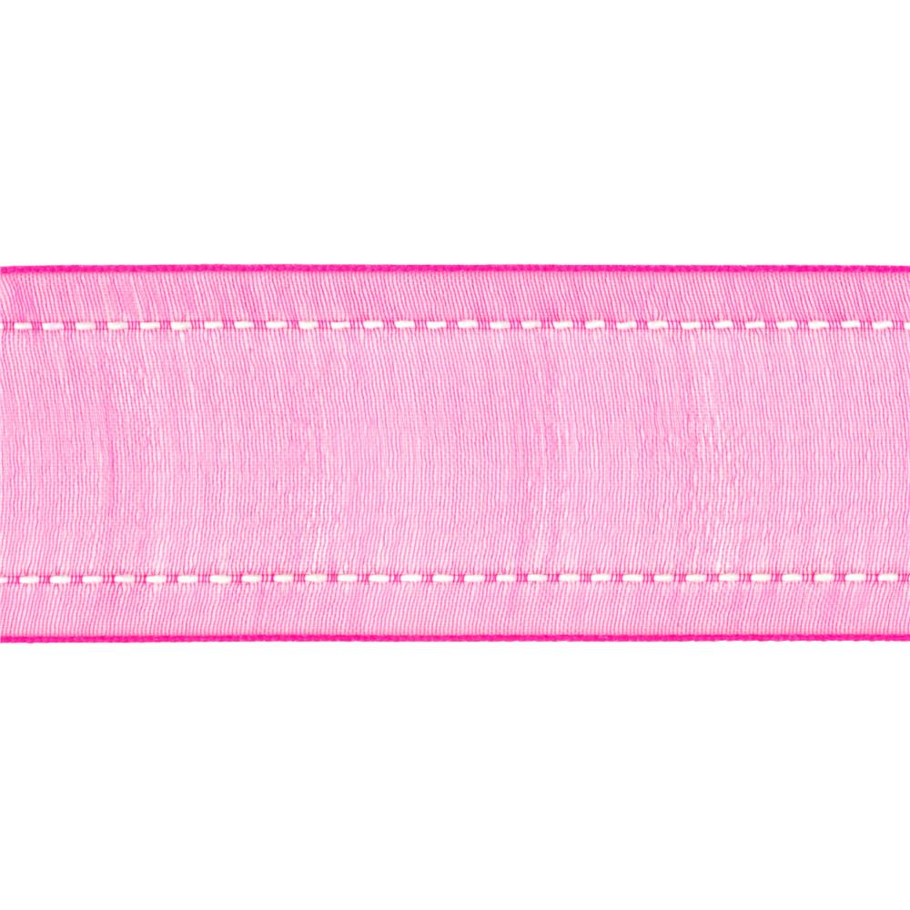 "1 1/2"" Sheer Stitched Edge Ribbon Hot Pink"