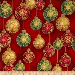 Robert Kaufman Radiant Holiday Metallic Ornaments Crimson