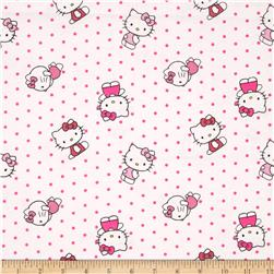 Sanrio Hello Kitty Flannel Dots Allover White