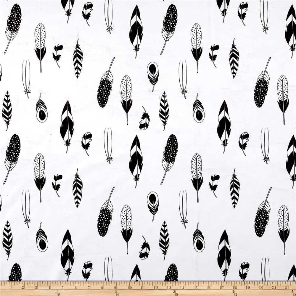 Michael Miller Minky Feathers White
