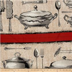 Michael Miller Bon Appetit Table Runner Stripe Flax