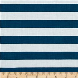 Stripe Cotton Voile Dark Teal/White