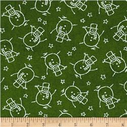 Moda Merry Scriptmas Snowman Evergreen