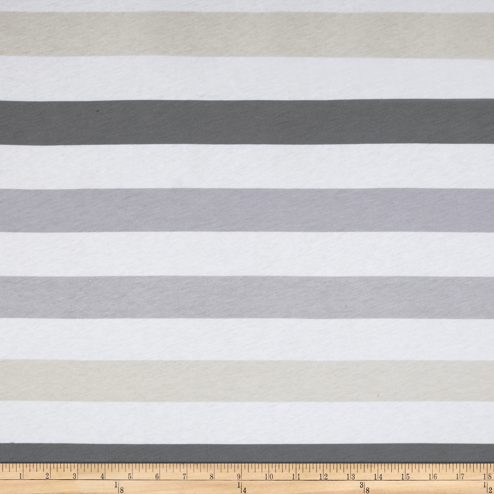 Designer Cotton Poly Jersey Knit Stripe White/Grey